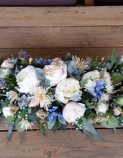 Table arrangement rustic faux flowers