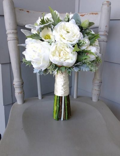 White & Green Bouquet Faux Flowers