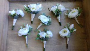 White & Green buttonholes Faux Flowers