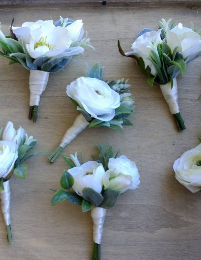 White & Green buttonholes Faux Flowers