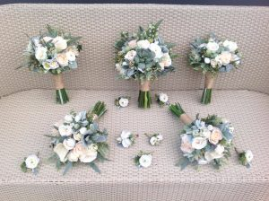 Cream and white succulent bouquet faux flowers