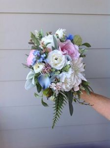 pink and blue bouquet faux flowers