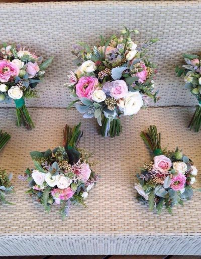 Faux Flower bouquets pink and ivory