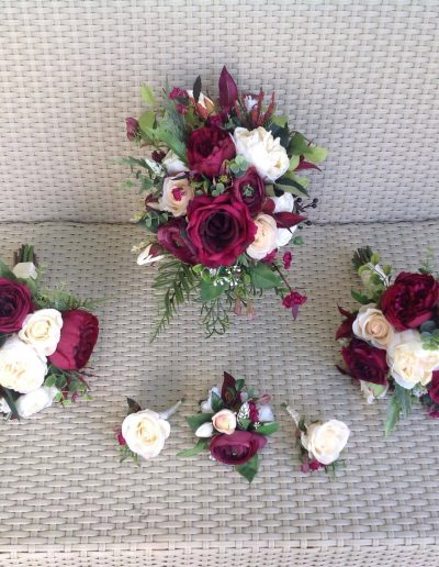Peach and burgundy faux flower bouquet set
