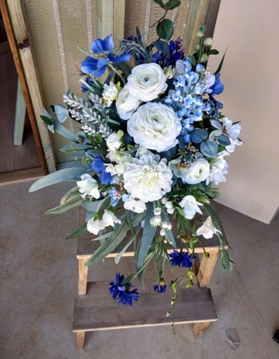 Blue cascade bouquet faux flowers