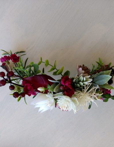 Burgundy bridal faux flower comb crown