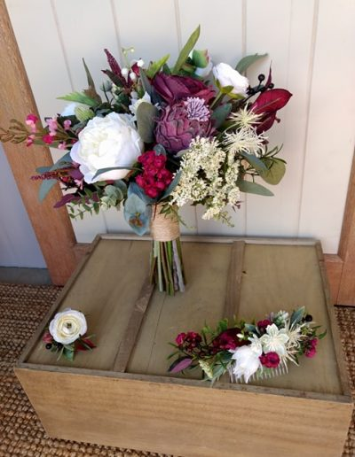 white and burgundy boho faux flower bouquet & Bridal Comb