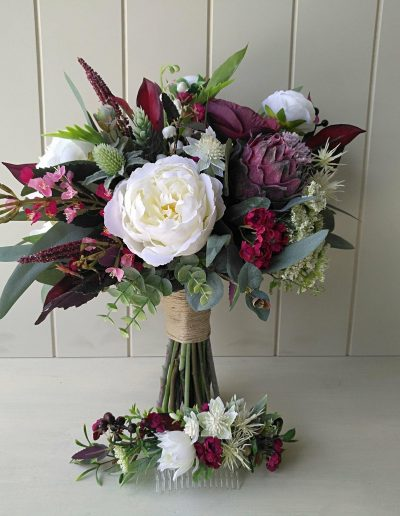 white and burgundy boho faux flower bouquet