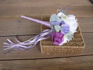 white and putple flower girl wand faux flowres