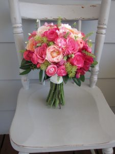 Pright pink and green bouquet