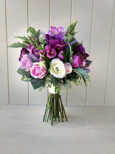 ultra voilet purple faux flower bouquet