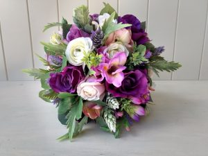 ultra voilet purple faux flower bouquets