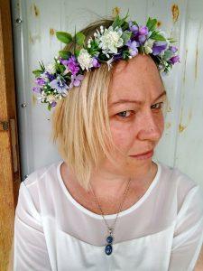 purple faux flower crown