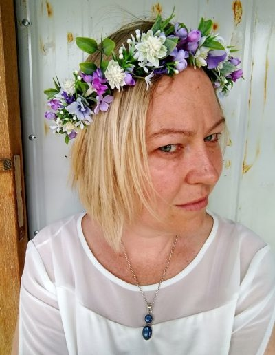 purple faux flower crown