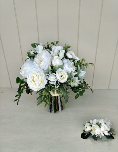 peony bouquet faux flower white and green