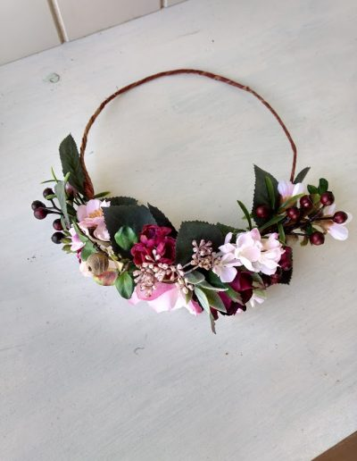back facing faux flower crown