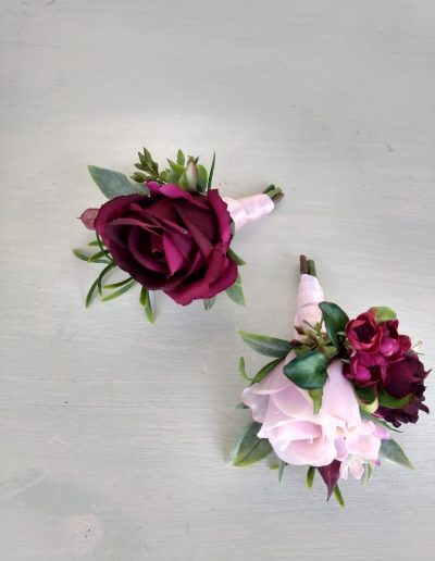 Burgundy Buttonhole and corsage
