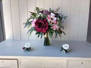 burgundy boho bouquet faux flowers