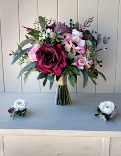 burgundy boho bouquet faux flowers