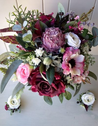 white pink and burgundy  boho faux flower bouquet