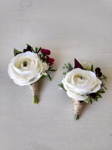 white and burgundy buttonholes faux flowers