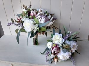 Native white and burgundy faux flower bouquets