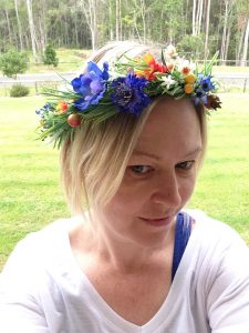 Blue faux flower crown
