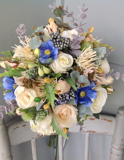 Blue and peach rustic bouquet
