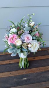 Faux Flower bouquet pink and ivory