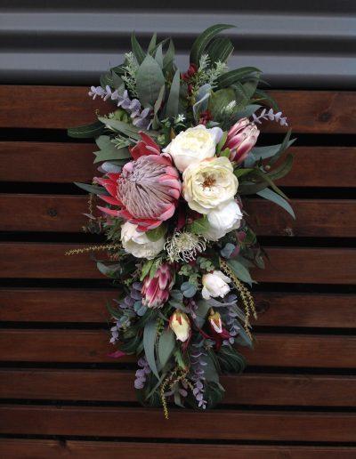 Native wedding arbour arrangement - faux flowers