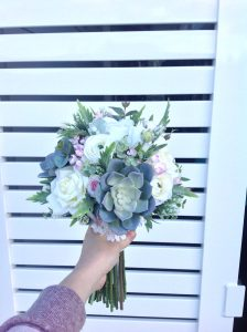 white and pink succulent bouquet