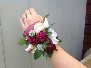 Burgundy wrist corsage faux flowers