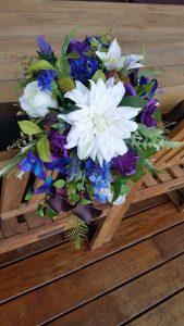 Purple white and blue cascading bouquet faux flowers