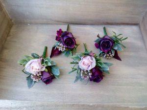 Berry Toned Faux Flower Buttonholes