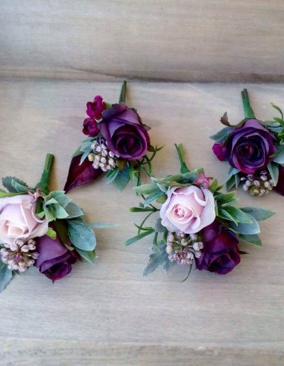 Berry Toned Faux Flower Buttonholes