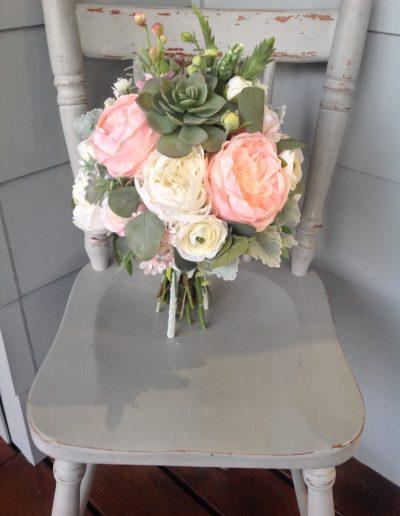 Pink peach and succulent bouquet faux flowers