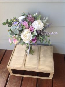purple and white natural bouquet faux flowers