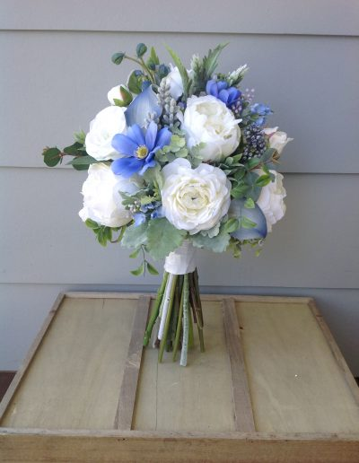 Blue and white faux flower bouquet