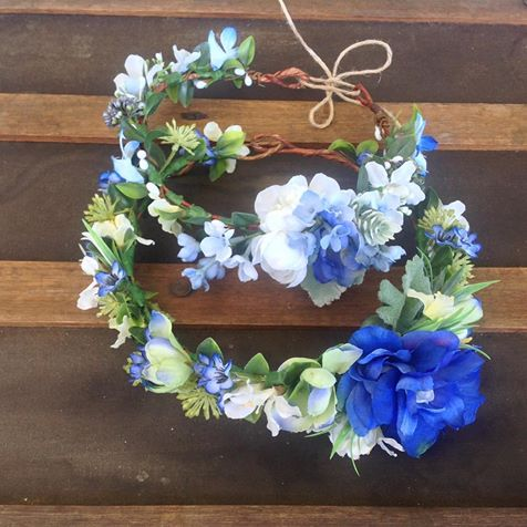 Blue faux flower crowns