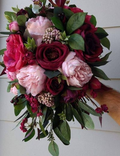 Pink and Burgundy Cascading Faux Flower Bouquet