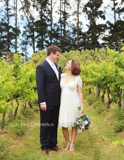 Zen Photography Blue bouquet vineyard wedding