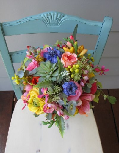 Bright bouquet beach wedding