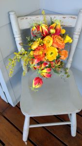 unstructured flame lily bouquet