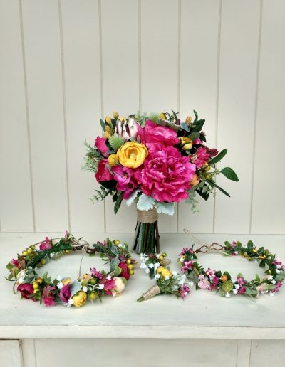 pink yellow  vibrant rustic bouquet