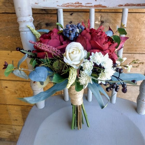 Burgundy Navy Maids Bouquet faux flowers