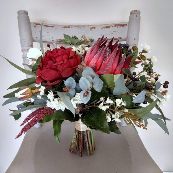 burgundy navy boho bouquet faux flowers
