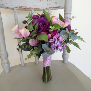 Purple Bridesmaid Bouquet Faux Flowers