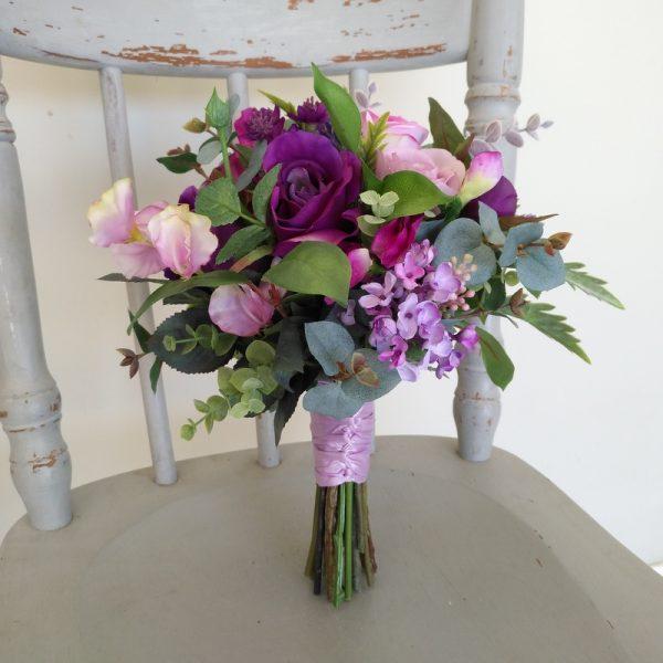 Purple Bridesmaid Bouquet Faux Flowers