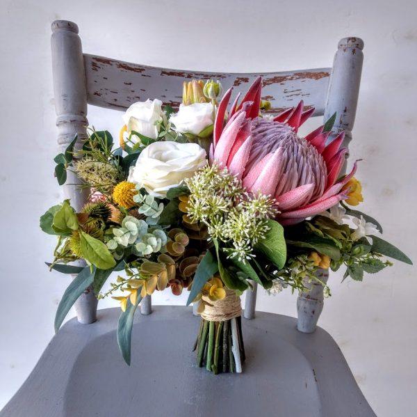 Faux native bouquet in earthy tones
