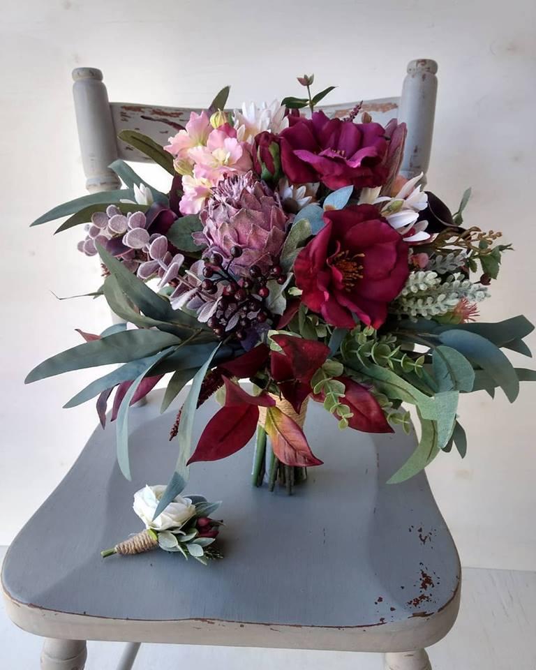 Burgundy Native Bouquet Moody Faux Florals
